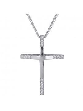 Λευκόχρυσος γυναικείος σταυρός 14Κ με αλυσίδα D024295C D024295C
