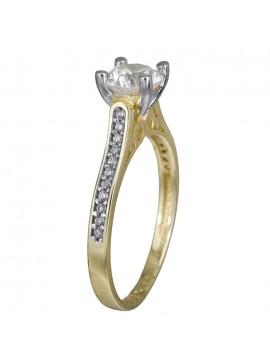 Δίχρωμο μονόπετρο δαχτυλίδι 14Κ με πετράτη γάμπα D024366 D024366