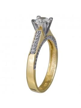 Δαχτυλίδι γάμου σε διχρωμία χρυσού Κ14 με ζιργκόν swarovski D024368 D024368