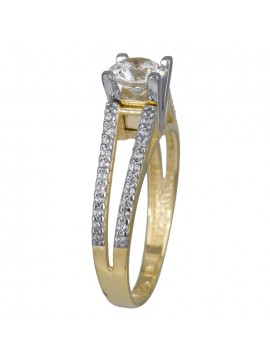 Δίχρωμο μονόπετρο δαχτυλίδι γάμου Κ14 D024369 D024369