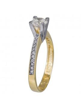 Γυναικείο δίχρωμο δαχτυλίδι γάμου Κ14 D024371 D024371