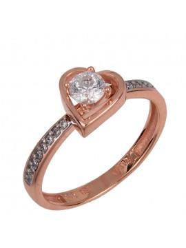 Μονόπετρο ροζ gold δαχτυλίδι καρδιά Κ14 D024377 D024377