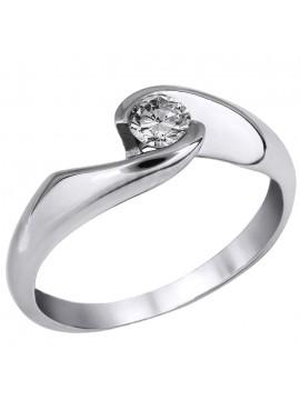 Λευκόχρυσο δαχτυλίδι με διαμάντι μπριγιάν Κ18 D027053 D027053
