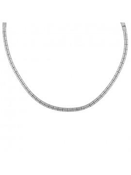 Λευκόχρυσο γυναικείο κολιέ ίσιο δίσειρο με ζιργκόν Κ14 D024477