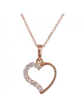 Ροζ χρυσό χειροποίητο κολιέ 14Κ με καρδιά D024490 D024490