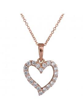 Ροζ gold κολιέ 14Κ με πετράτη καρδιά D024491 D024491