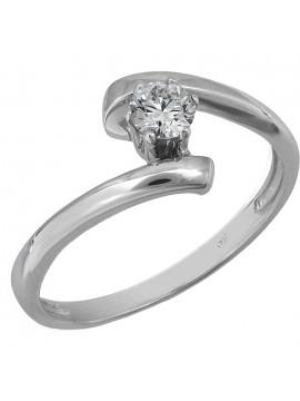 Μονόπετρο λευκόχρυσο δαχτυλίδι με μπριγιάν Κ18 D024704 D024704