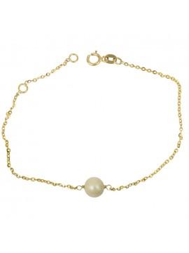 Γυναικείο χρυσό βραχιόλι με μαργαριτάρι Κ9 D024755 D024755