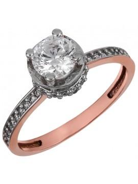 Ροζ χρυσό μονόπετρο δαχτυλίδι με ζιργκόν Κ14 D024905 D024905
