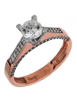 Ροζ χρυσό δαχτυλίδι γάμου Κ14 με ζιργκόν D024908 D024908