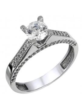 Λευκόχρυσο μονόπετρο δαχτυλίδι Κ14 D024909 D024909