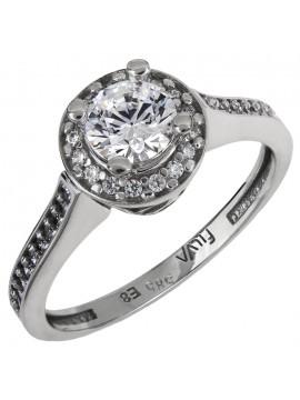Μονόπετρο λευκόχρυσο δαχτυλίδι με ζιργκόν Κ14 D024914 D024914