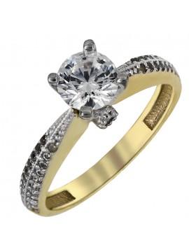 Δίχρωμο μονόπετρο δαχτυλίδι με ζιργκόν Κ14 D024917 D024917