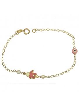 Χρυσό παιδικό βραχιόλι με ροζ ματάκι φίλντισι Κ9 D025259 D025259