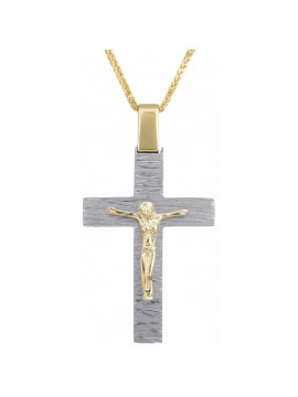 Αντρικός σταυρός με τον Εσταυρωμένο Κ18 με αλυσίδα 14Κ D025369C D025369C