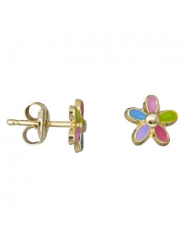 Χρυσά παιδικά σκουλαρίκια λουλούδι Κ9 D025416 D025416