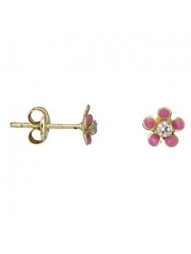 Χρυσά παιδικά σκουλαρίκια λουλούδι με ζιργκόν Κ9 D025417 D025417