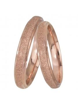 Ροζ gold βέρες γάμου αρραβώνα Κ14 με διαμαντάρισμα D025447 D025447