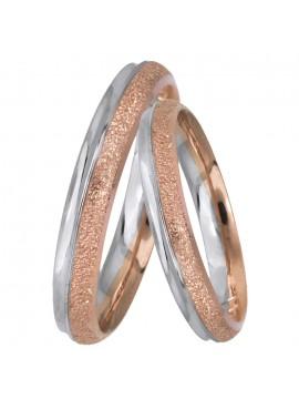 Βέρες γάμου σε λευκό ροζ χρυσό K14 με διαμαντάρισμα D025499 D025499
