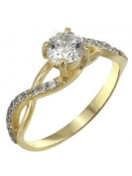 Χρυσό δαχτυλίδι swarovski Κ14 με λευκές ζιργκόν D025522 D025522