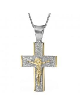 Δίχρωμος μασίφ σταυρός με τον Εσταυρωμένο Κ18 D025555C D025555C