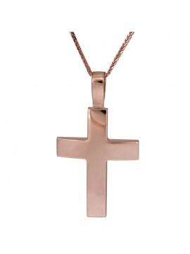 Ροζ gold σταυρός Κ18 με αλυσίδα 14K D025576C D025576C