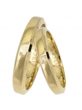 Χρυσές λουστρέ βέρες με διαμαντάκι Κ14 D025652 D025652