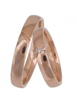 Ροζ χρυσές ιταλικές βέρες γάμου Κ14 D025659 D025659