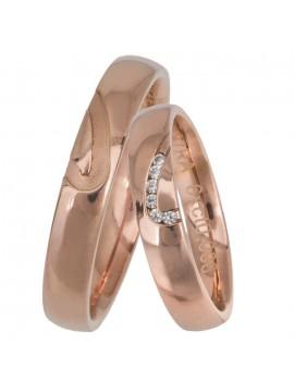 Ροζ χρυσές βέρες γάμου με μπριγιάν Κ14 D025666 D025666