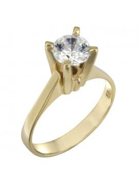 Χειροποίητο μονόπετρο δαχτυλίδι swarovski χρυσό Κ14 D025841 D025841
