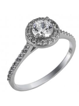 Swarovski λευκόχρυσο μονόπετρο δαχτυλίδι Κ14 D025845 D025845