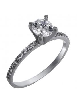 Λευκόχρυσο μονόπετρο δαχτυλίδι με πέτρες Swarovski Κ14 D025847 D025847