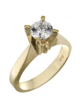 Κλασικό δαχτυλίδι μονόπετρο σε χρυσό Κ14 με πέτρα swarovski D025850 D025850