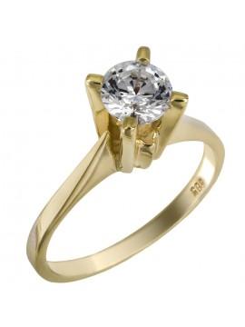 Χρυσό κλασικό μονόπετρο γάμου swarovski Κ14 D025852 D025852