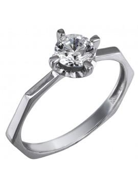 Γυναικείο μονόπετρο δαχτυλίδι swarovski λευκόχρυσο Κ14 D025853 D025853