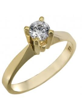 Χειροποίητο χρυσό μονόπετρο Κ14 με λευκή πέτρα swarovski D025855 D025855