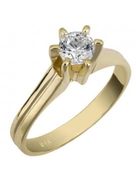 Μονόπετρο δαχτυλίδι swarovski από χρυσό Κ14 D025858 D025858