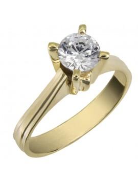 Χρυσό μονόπετρο δαχτυλίδι swarovski Κ14 D025866 D025866