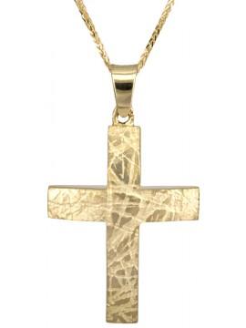 Βαπτιστικός χρυσός σταυρός για αγόρι Κ18 με αλυσίδα 14Κ D025876C D025876C