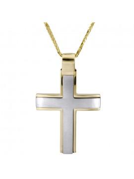 Ανδρικός ματ σταυρός σε λευκό κίτρινο χρυσό Κ14 με καδένα D026019C D026019C