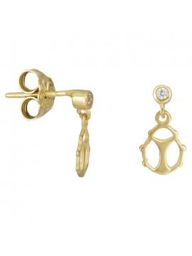 Χρυσά παιδικά σκουλαρίκια πασχαλίτσα Κ14 με ζιργκόν D026396 D026396
