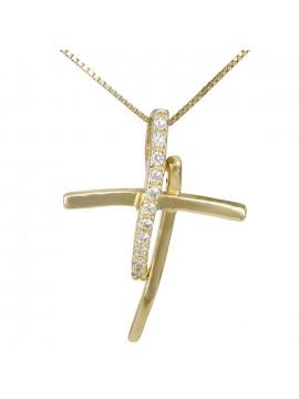 Μοντέρνος γυναικείος σταυρός χρυσός Κ14 με αλυσίδα D026417C