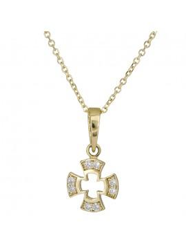 Χρυσός πετράτος σταυρός Κ14 με αλυσίδα D026429C D0026429C