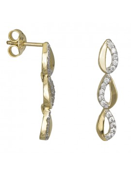 Χρυσά σκουλαρίκια Κ9 με λευκές ζιργκόν D026704 D026704
