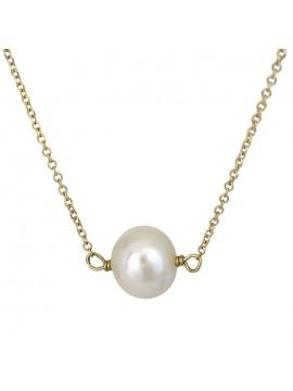Χρυσό κολιέ Κ14 με λευκό μαργαριτάρι D026915 D026915
