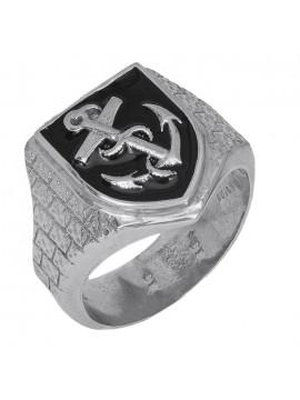 Ασημένιο Ανδρικό Δαχτυλίδι Σεβαλιέ 925 D026935 D026935