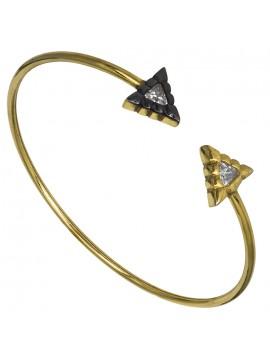 Επίχρυση γυναικεία χειροπέδα 925 με τριγωνάκια D026941 D026941