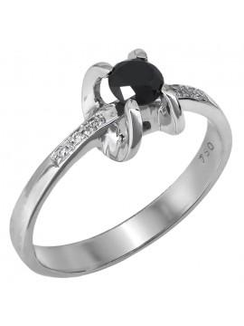 Λευκόχρυσο μονόπετρο δαχτυλίδι με μαύρο διαμάντι D027459 D027459