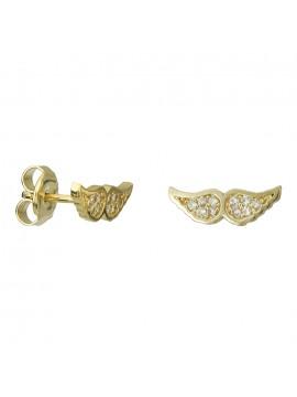 Χρυσά σκουλαρίκια Κ14 πετράτα φτερά D027082 D027082