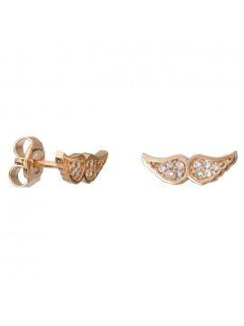 Ροζ χρυσά σκουλαρίκια Κ14 πετράτα φτερά D027083 D027083